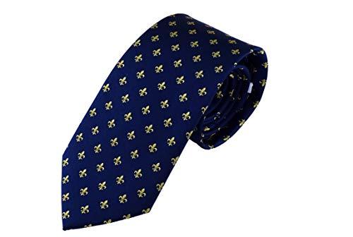 Cravate Fleur de lis bleu or, Cravate homme bleu marine soie, cravate fait à la main Pietro Bald
