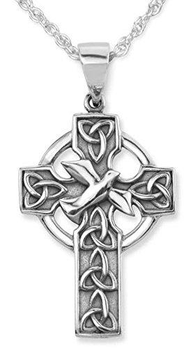 """Knoten der Sterlingsilber-traditionelle keltische Heiligen Dreifaltigkeit und Tauben-Entwurf Iona-Abtei-Kreuz-Form-Halsketten-Anhänger - schließt 20\"""" Sterlingsilberkette mit ein"""