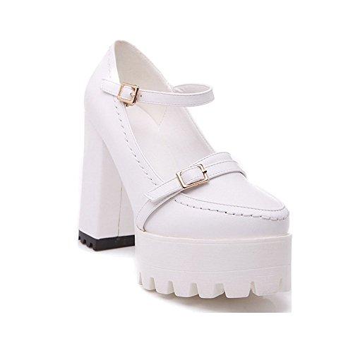 AllhqFashion Damen Pu Hoher Absatz Rund Zehe Rein Schnalle Pumps Schuhe Weiß