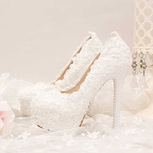 VIVIOO High Heels Weißer Super Hoher Wasserdichter Tisch,Einzelne Schuhe,Feine Fersenschuhe,Spitzeblume,Perlenhochzeitsschuhe,Brautschuhe,14Cm Fersen,5.5 (Spike Heel Schuh 14)