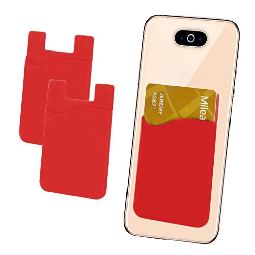 i-Tronixs (rot 2 Stück Kreditkarten-Halter für Handyrückseite, Silikon-Karten-Haftung, mit 3M Selbstklebendem Handy-Etui für Obi Racoon S401 (kompatibel mit iPhone/Android/Tablets)
