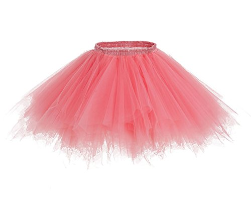 HomRain 1950er Petticoat Kurz Ballett Tanzkleid Tutu Tüllrock Rockabilly Unterrock Coral - Kostüme S 1950