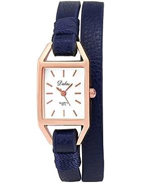 AMPM24 Damen Armbanduhr Quarzuhr Zeitlos Design 39cm Kunstleder Band Blau Casual Damenuhr WAA1024