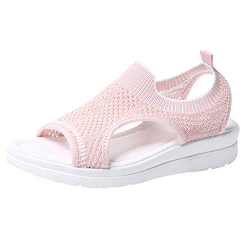 n Frauen Mädchen Atmungsaktiv Komfort Aushöhlen Lässige Sommer Schuhe Frau Keil Mode 2019 (41 EU, Z-Pink) ()