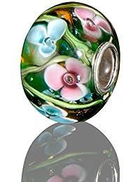 Andante-Stones - original, plata de ley 925 sólida, cuenta de cristal de la serie SEALIFE flores de color verde-rosa-azul, elemento bola para cuentas European Beads + saco de organza