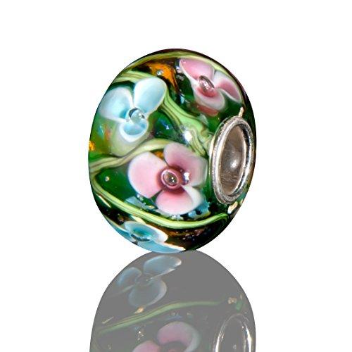 Andante-Stones 925 Sterling Silber Glas SEALIFE Bead Charm (Smaragdgrün mit rosa und hellblauen Blumen) Element Kugel für European Beads + - Halloween Glas Charms