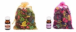 Itiha Sandalwood Aroma Oil and Lavender Essential Oil Potpourri Freshner Set of Four (20 ml* 100 gm)