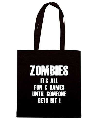 T-Shirtshock - Borsa Shopping TZOM0073 zombies fun and games Nero