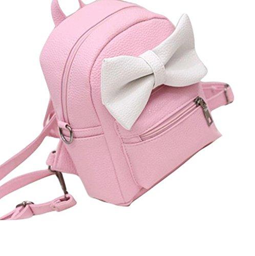 Imagen de  mujer sannysis mujeres bolsos de cuero con cremallera rosa con corbata de lazo