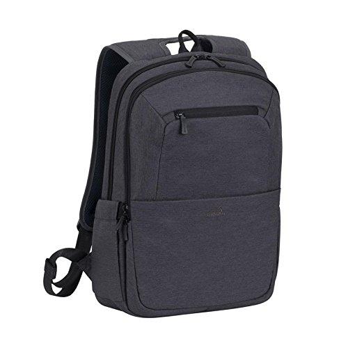 Rivacase Rucksack – wasserfester Rucksack mit Laptopfach (15,6 Zoll) und Tablet-Tasche (10,1 Zoll)  – dank Trolley-Gurt perfekt als Reiserucksack – Laptop Rucksack aus Polyester – schwarz