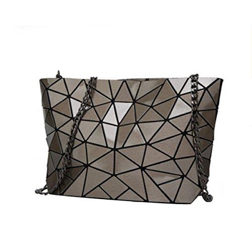 Signore Laser Rhombus Bag Pieghevole Geometrica Lingge Spalla Irregolare Bag Brown