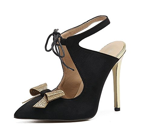 SHINIK Damen Spitz-Zehen-Pumps Slingback Damen-Nashorn-Fliege mit leeren Spitze hoch mit feinen Sandalen Black