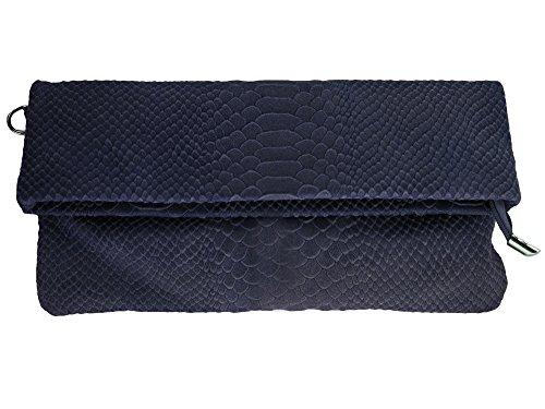 bag2basics Damen Clutch Woodstock | diverse Farben | Genuine Leather | Schlangenmuster (B30xH15,5xT3) Blau Snake