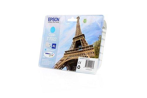 Preisvergleich Produktbild Original Tinte passend für Epson WorkForce Pro WP-4595 DNF Blauer Engel Epson T7022 , T70224010 C13T70224010 , T702240 - Premium Drucker-Patrone - Cyan - 2.000 Seiten