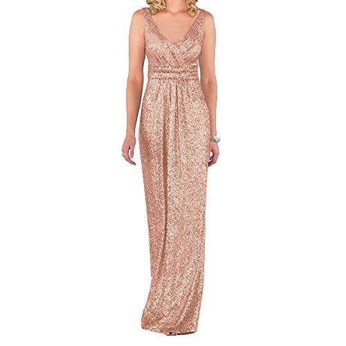 Aiyana ärmellos Gold Brautjungfer Kleid Party kleid Langes Promkleider Langes Dame Elegantes V-Ausschnitt Abendkleid mit Pailletten Rose Gold