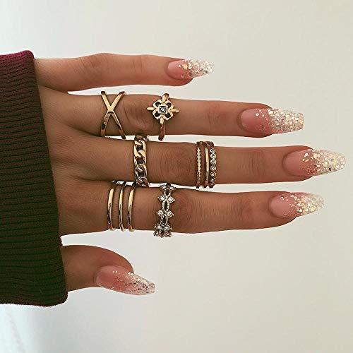 SanQ-Seven 8 STÜCKE Midi Ringe Knuckle Stacking Multi Größe Comfort Fit Gold Ring Set für Frauen (Ringe Stacking 11 Größe)