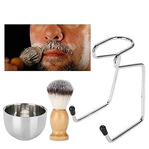 Pinselständer + Rasierpinsel + Edelstahl Rasierseife Schüssel für garantiert Rasur Ihres täglichen Lebens, Verwenden Sie für altmodische Double Edge Rasierapparate oder Multi-Blade-Rasierer