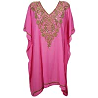 Mogul Interior Womens Tunic Caftan Dress Pink Georgette Golden Sequin Work Short Kaftan One Size