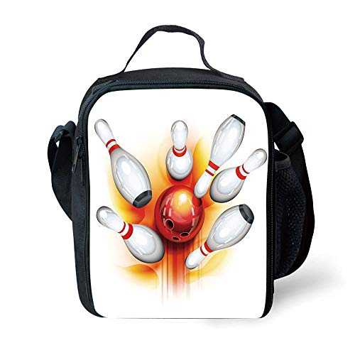 MLNHY School Supplies Bowling Party Decorations,Red Ball with Spread Skittles Vibrant Abstract Vibrant Art Decorative,Red Orange White for Girls or Boys Washable