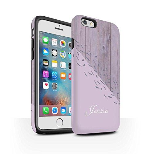 Personalisiert Individuell Holz/Marmor Matte Zähen Hülle für Apple iPhone 6 / Grau Geometrisch Design / Initiale/Name/Text Stoßfest Schutzhülle/Case/Etui Beunruhigt Rosa