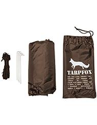 Toldo original Tarpfox 2,9x2,9m, impermeable, lona, toldo, chubasquero, toldo impermeable, carpa, marrón