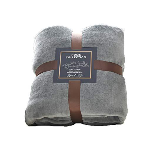 BESTQIAO Warm Volltonfarbe Flanell Decke, Gemütliche Faux Pelz Microfiber Tagesdecke Lightweight Werfen Sofa Bett Kuscheldecke-Grau 120x200cm(47x79inch) (Faux-pelz Tagesdecke)