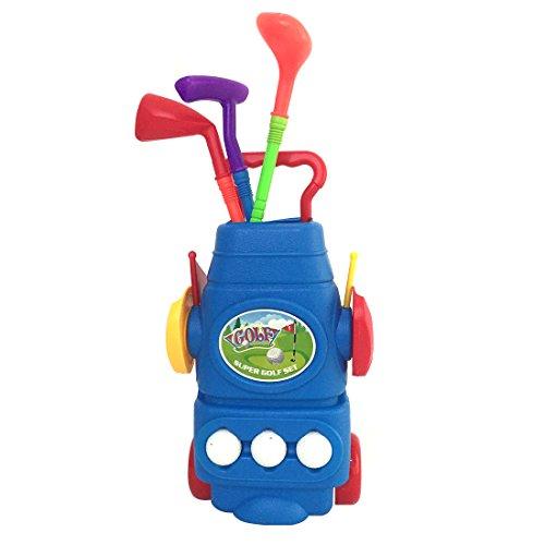 RA Plastik Golf Spielzeug Mini Golf Club Sets 3 verschiedene Golf Clubs + 3 Bälle + 2 Praxis Löcher Für Kinder Kleinkinder Jungen Mädchen Blau ()