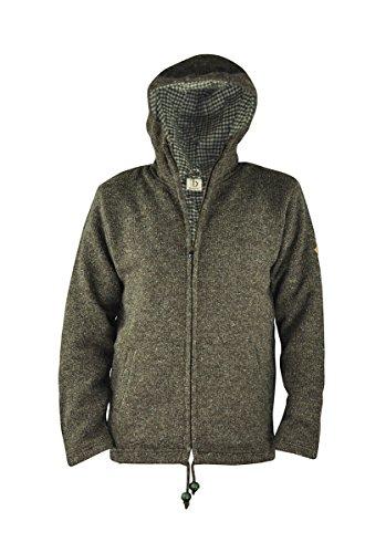 virblatt Giacca uomo foderata di lana nelle taglie S, M, L, XL felpa di lana con cappuccio 100% lana naturale - Everest Brown XL