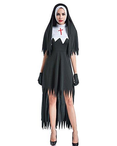 Damen Halloween Nonnen Kostüm Kleid Mit Haube Schwestern-Uniform Klosterfrau Nonnenkostüm Kirche Schwarz S