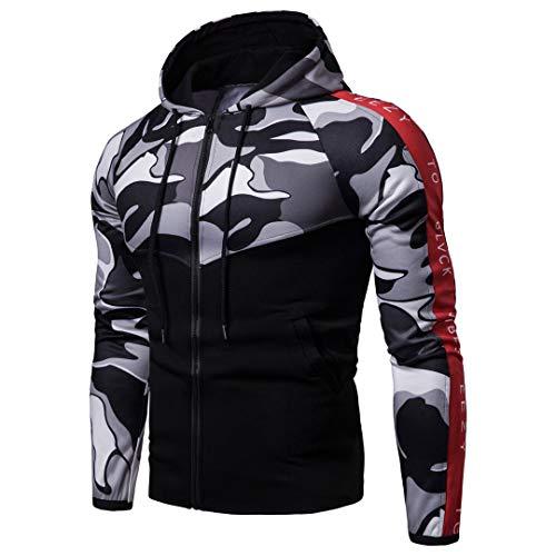 Camouflage Patchwork Hoodies Herren Zipper Cardigan Sweatshirts Slim Fit Sportswear Black L