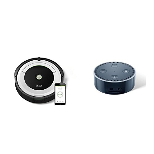 IRobot Roomba 691 Saugroboter (hohe Reinigungsleistung mit Dirt Detect, geeignet bei Tierhaaren, WLAN-fähig) silber + Amazon Echo Dot (2. Generation) Intelligenter Lautsprecher mit Alexa, Schwarz