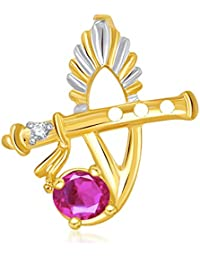 VK Jewels The Bansuri Pendant Gold And Rhodium Plated - P1889G [VKP1889G]