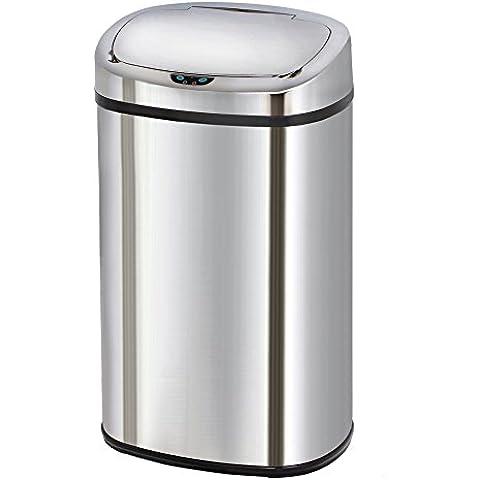 Kitchen Move AS - Cubo de basura de apertura automática para la cocina, diseño cuadrado, acabado en cromo inoxidable, acero inoxidable, acero inoxidable, 68 Litres