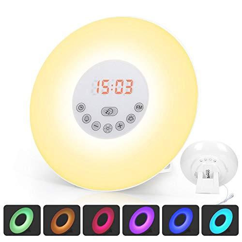 Generic 6638D Wecker Wake Up Light Lichtwecker, mit 7 Wecktöne, 7Farben, 10Dimmstufen (Neue Version)