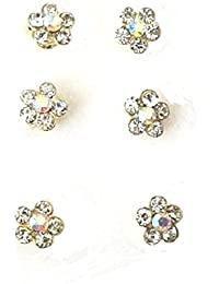 Seis 6color plateado cristal diamante flor giros Swirl Juego de pines de pelo Bobinas Espirales accesorios para el pelo de novia boda joyas