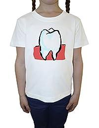 Diente Blanco Algodón Niña Niños Camiseta Manga Corta Cuello Redondo Mangas White Girls Kids T-shirt
