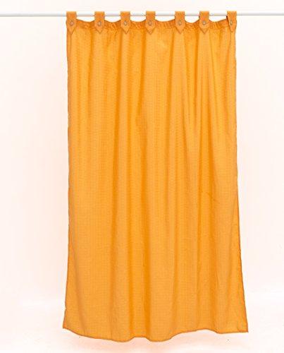 atenas home textile Cortina de baño loneta Lisa, con trabaillas y Boton, Calidad loneta Jacquard, hidrofugada y Anti-Moho (180x200, Naranja)
