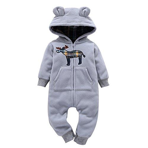 Mbby pagliaccetto neonato invernale, 6-24 mesi pagliaccetti con cappuccio e cerniera addensare pigiama in cotone e vello manica lunga stampe caldo tutina fumetto outfits per unisex