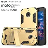 Goelectro Moto G5s Plus Heavy Duty D3 Robot Kickstand Cover Shockproof Military Grade Armor Defender Series Dual Protection Layer Hybrid TPU + PC Kickstand Back Case Cover- Gold