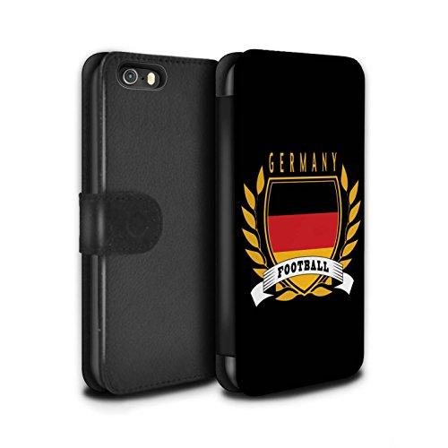 Stuff4 Coque/Etui/Housse Cuir PU Case/Cover pour Apple iPhone SE / Pack 8pcs Design / Emblème Football Collection Allemagne/Allemand