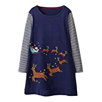 Longra® Christmas Baby Dress - Toddler Baby Girls Long Sleeve Stripe Deer Christmas Print Dress Outfits Clothes for 1-6 Years