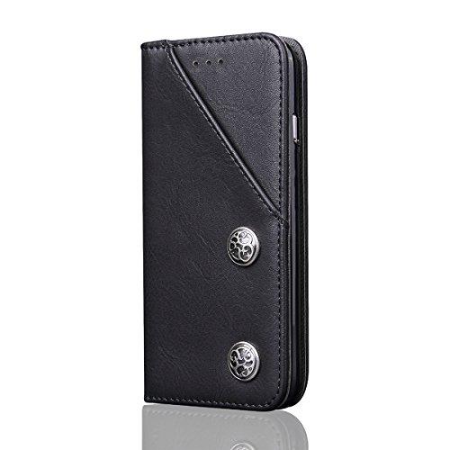 iPhone X Hülle, MOONMINI PU Leder Brieftasche Kartensteckplätze Handy Tasche Case Slim Fit Flip Bookstyle Lederhülle Schutzhülle mit Flip Stand Funktion und Magnetverschluss Handycover für iPhone X Sc Schwarz
