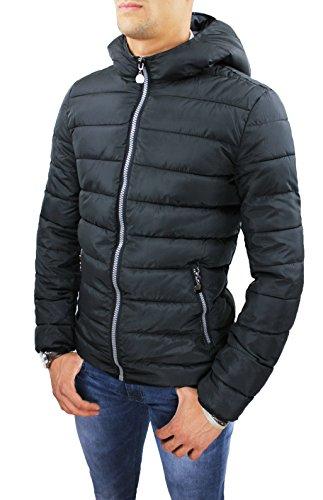 Giubbotto piumino uomo casual nero invernale giacca giubbino bomber taglia M L XL XXL XXXL (M)