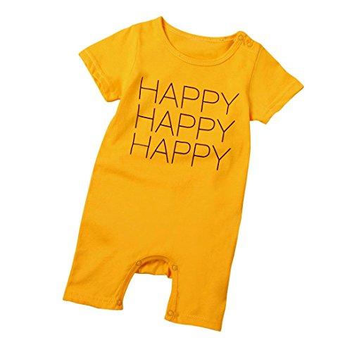 Bekleidung Longra Kinder Baby Mädchen Jungen Buchstaben Leopard Kurzarm Baumwolle Sommer T-shirt Romper Strampler Overall Baumwollkleidung (0 -30 Monate) (73CM 12Monate, Yellow) Leoparden-strampler