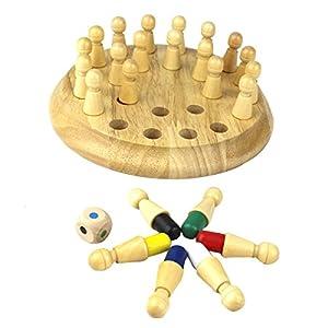 Holz Spielzeug, Netspower Pädagogisches Spielzeug Kinder Kids aus Holz 24 Farb Memory Schach Spiel Pädagogische Spielwaren Geschenk Weihnachtsgeschenk für Ihre Kinder