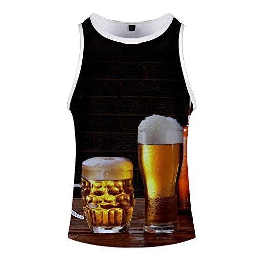 Chejarirty Oktoberfest T-Shirt 3D Print Fun-Shirt Casual Basic O-Neck Tanktop Herren Kurzarm T-Shirt Bierfest Kostüm MännerSport Fitness Tops Bier Muster Casual Lässige Oberteile (M, Orange)