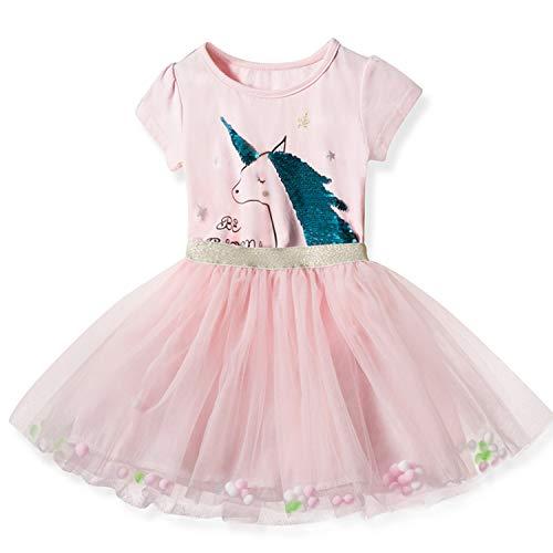 NNJXD Kleines Mädchen-Einhorn-beiläufiges Kleid ärmelloses bedrucktes Sommer-Tutu-Kleid Größe (110) 3-4 Jahre Rosa