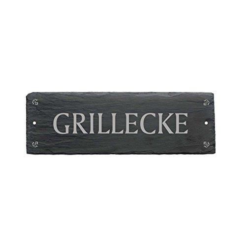 Schild « GRILLECKE » aus Schiefer - ca.22 x 8 cm - Türschild für Männer