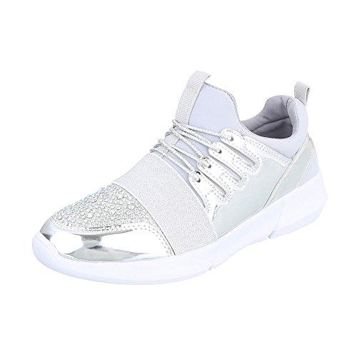 Sneakers Basse Sneakers Basse Da Donna Con Laccetti In Argento