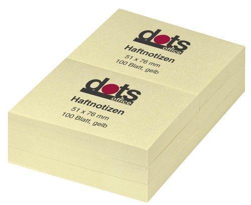 Dots foglietti per appunti giallo chiaro 5,1x 7,6cm 1confezione = 12Blocchi je 100Bl.